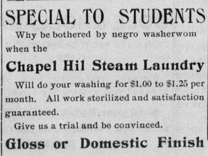 Advertisement in the Tar Heel, 1902.