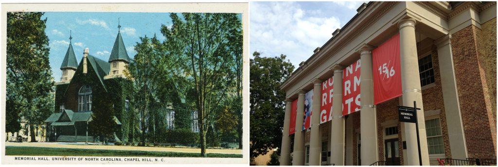 Left: Memorial Hall, 1907 postcard; Right: Memorial Hall, 2015.
