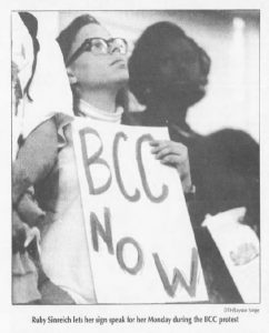 Protesters lined the walls of Memorial Hall during University Day 1992. (The Daily Tar Heel, October 13, 1992.)