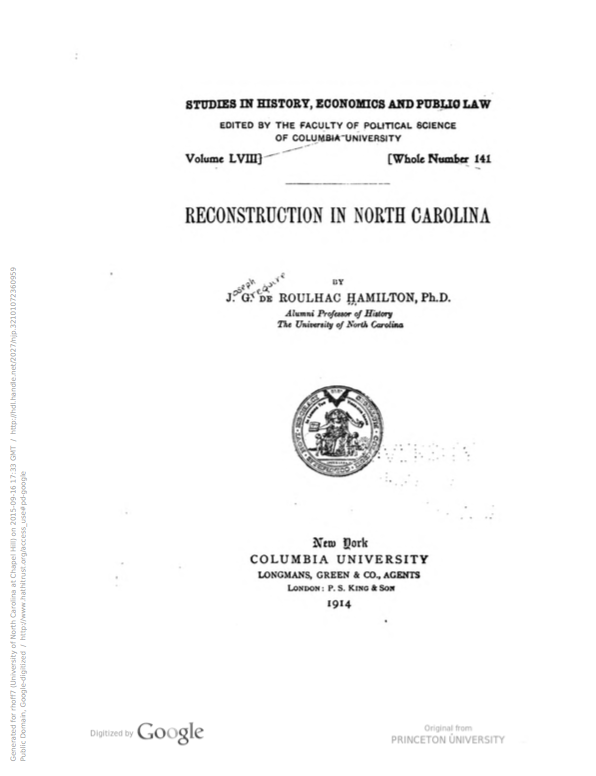 Reconstruction in North Carolina Cover