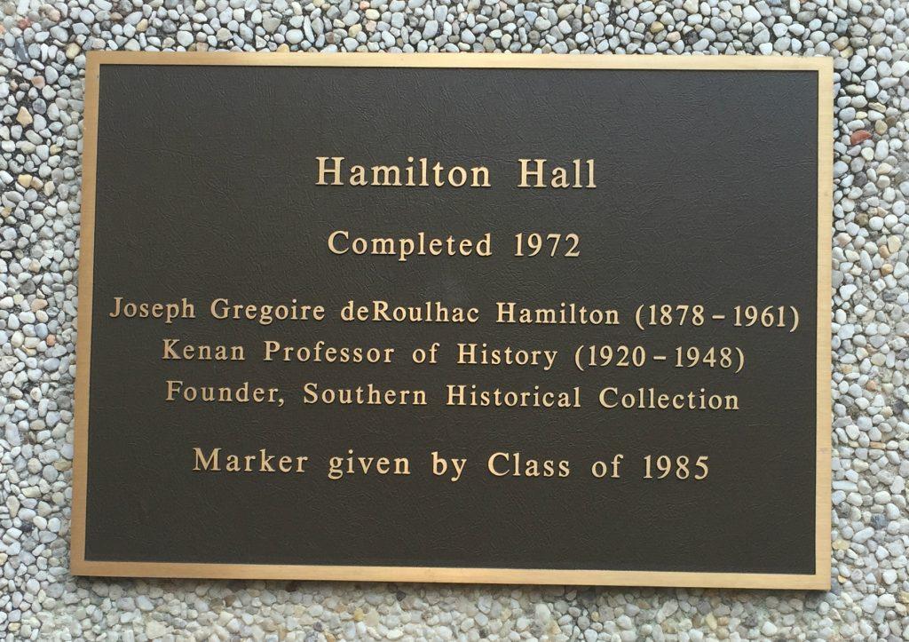 Plaque near the entrance of Hamilton Hall.