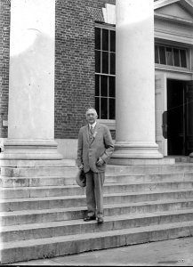 Edwin Alderman on the steps of Cabell Hall at the University of Virginia, 1926. University of Virginia Library.