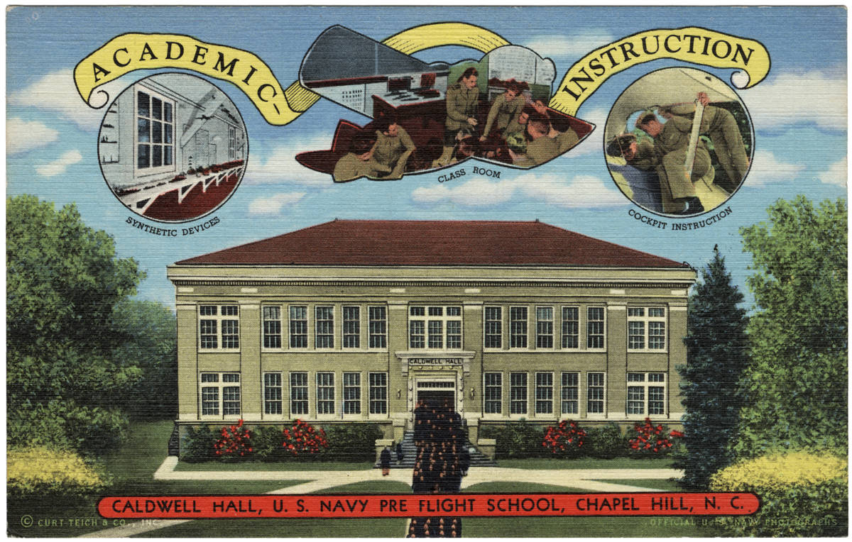 """""""Caldwell Hall, U.S. Navy Pre Flight School, Chapel Hill, N.C."""" in Durwood Barbour Collection of North Carolina Postcards (P077), North Carolina Collection Photographic Archives, Wilson Library, University of North Carolina at Chapel Hill"""
