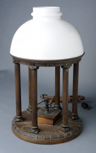 """""""Lamp in the shape of UNC's Old Well,"""" in Carolina Keepsakes, North Carolina Collection, Wilson Library, UNC-Chapel Hill."""