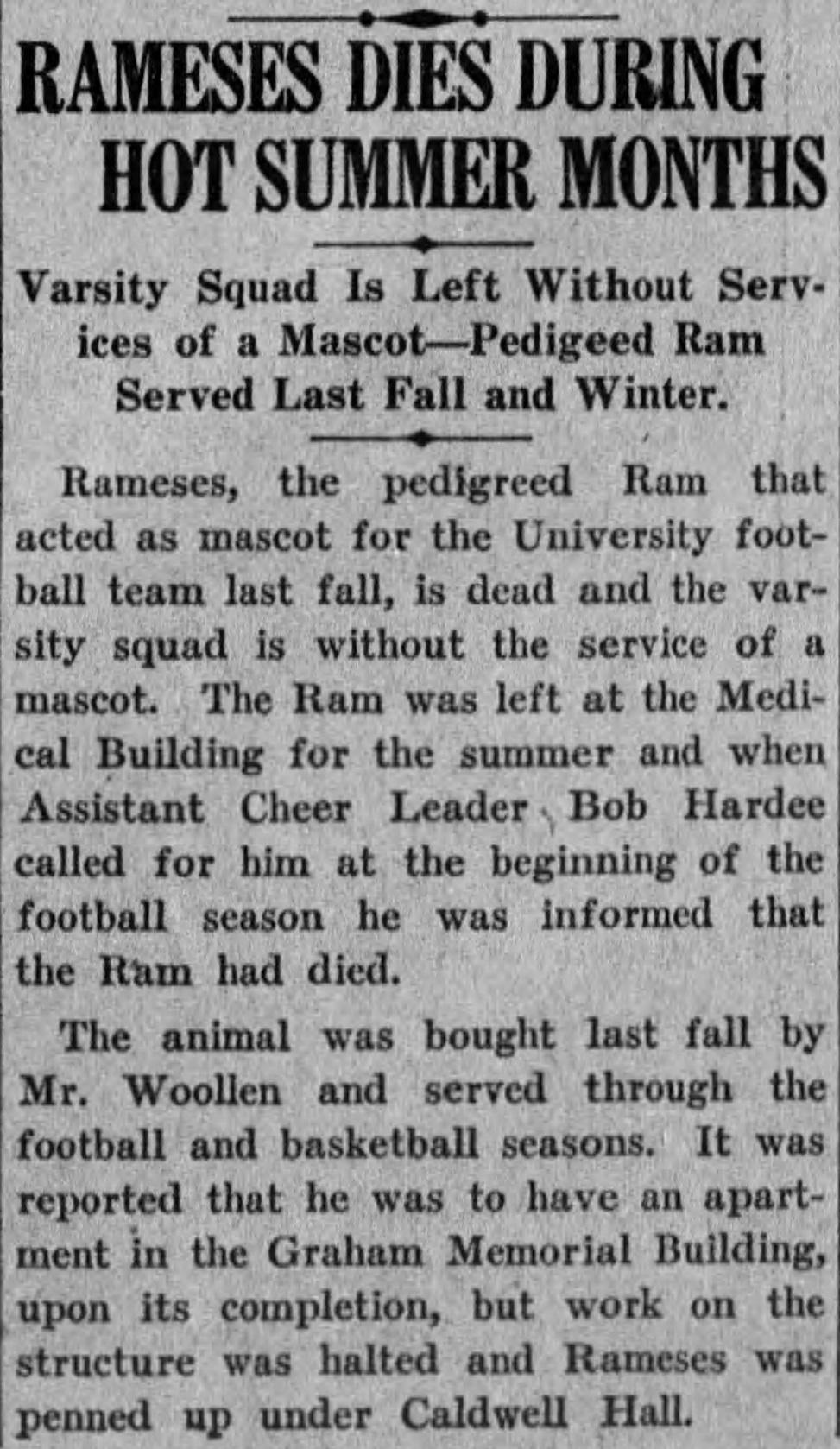 """Rameses Dies during Hot Summer Months,"" Tar Heel (Chapel Hill, NC), Sep. 29, 1925, accessed on March 26, 2017, //universityofnorthcarolinaatchapelhill.newspapers.com/image/67919582."