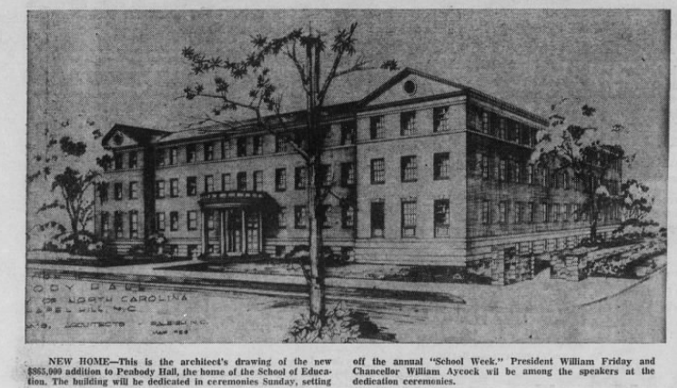 Artist drawing of the 1960 addition to Peabody Hall. Courtesy of The Daily Tar Heel, June 16, 1960