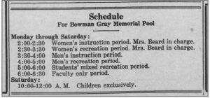 pool schedule 1938