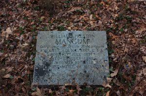 Willie Preston Mangum's grave in the Locust Grove Plantation cemetery.